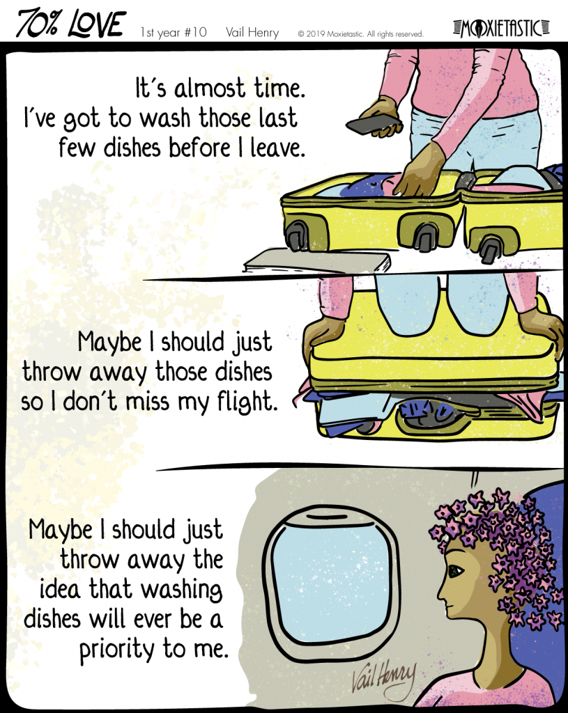 Illustration showing a person packing a suitcase and, subsequently, sitting on an airplane.