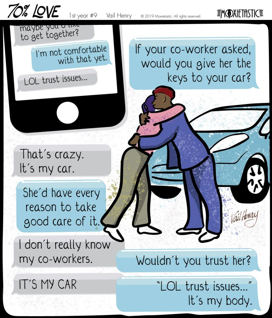 Illustration of a text message exchange and two people hugging in front of a blue car.