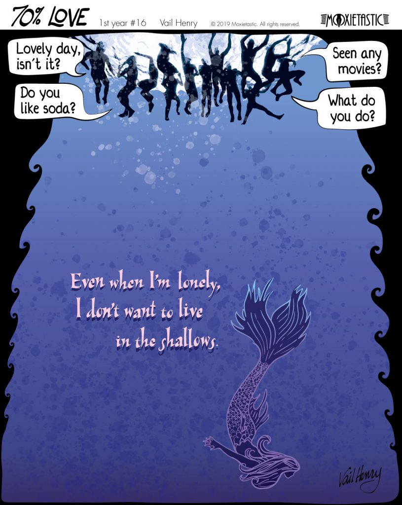 cartoon of deep waters with a gaggle of talking swimmers at top and one downward-swimming mermaid at the bottom