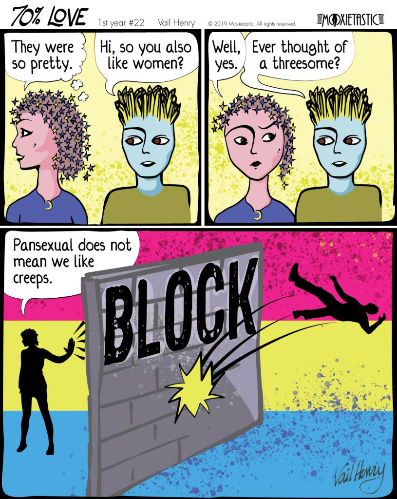 Three panel cartoon with two people talking. Third panel contains a blocking wall between them.