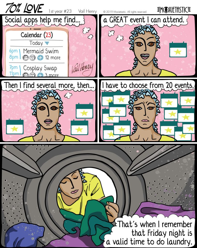 Person with a progressively more anxious expression, surrounded by event icons. Last panel shows a washing machine.
