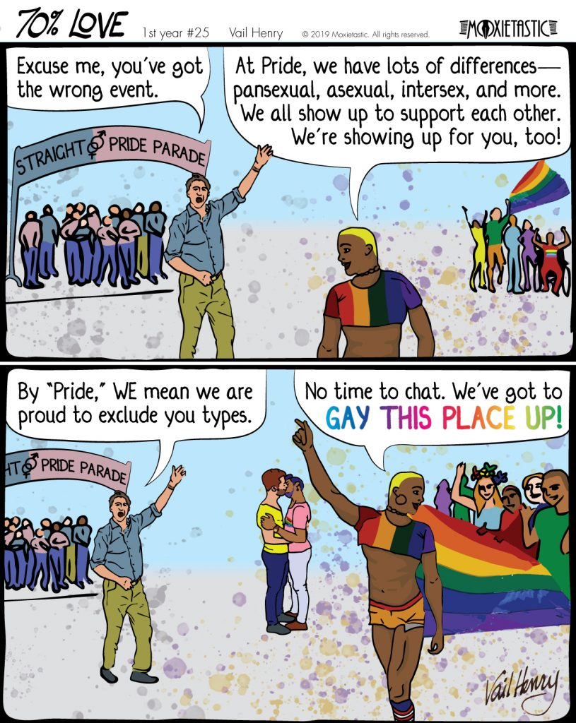 A group of people under a Straight Pride Parade banner object to the arrival of a group of LGBT people wearing rainbows.