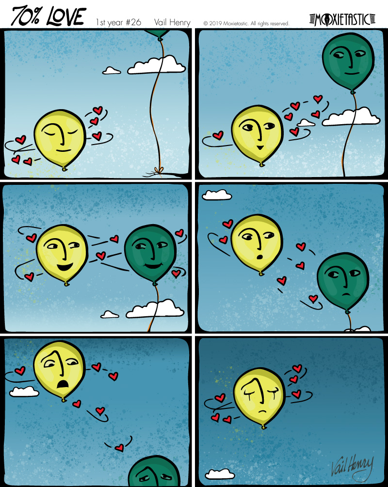 6-panel cartoon of two balloons who love each other. One balloon is tied to a branch while the other continues to rise.