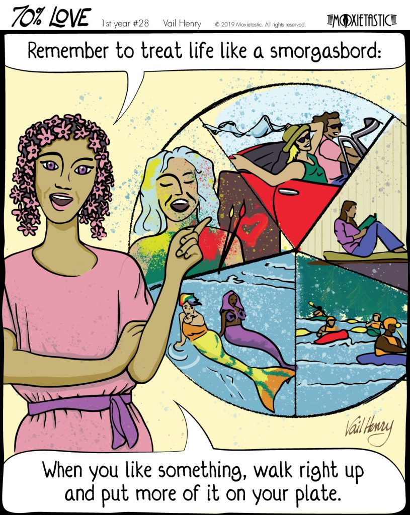 a woman standing in front of a 5-part depiction of people having fun painting, riding in a convertible, reading, being mermaids, and kayaking