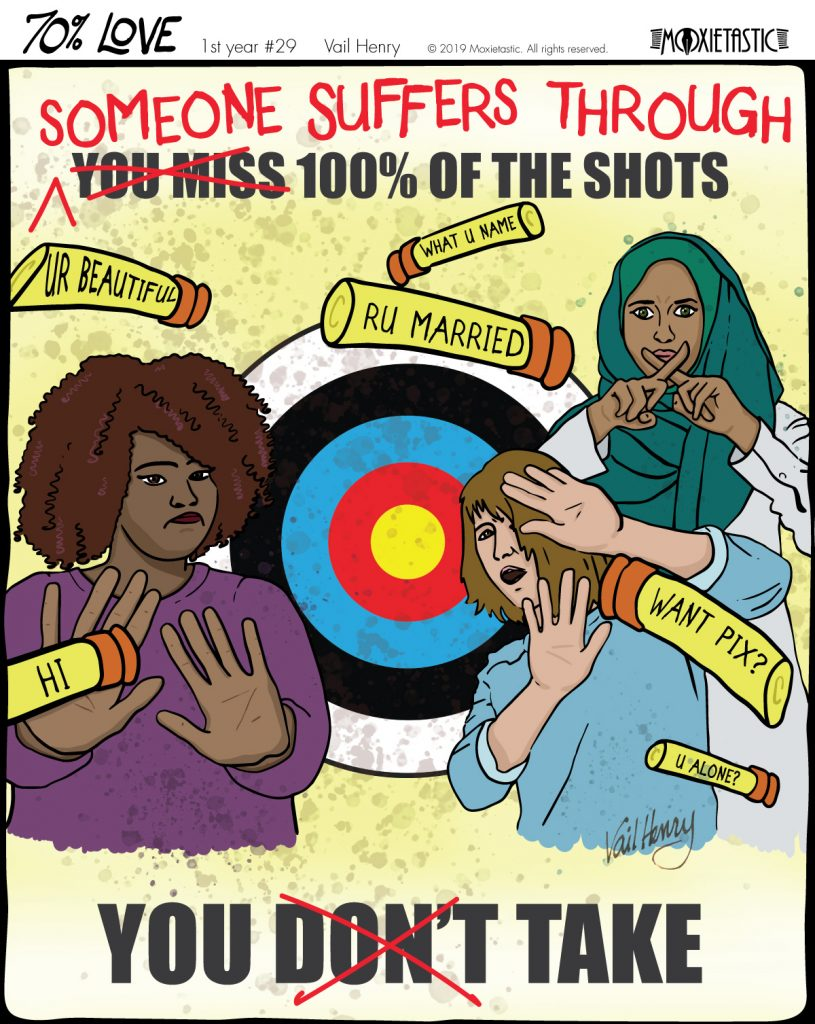 three women in front of a target defending themselves against foam darts with pickup lines on them