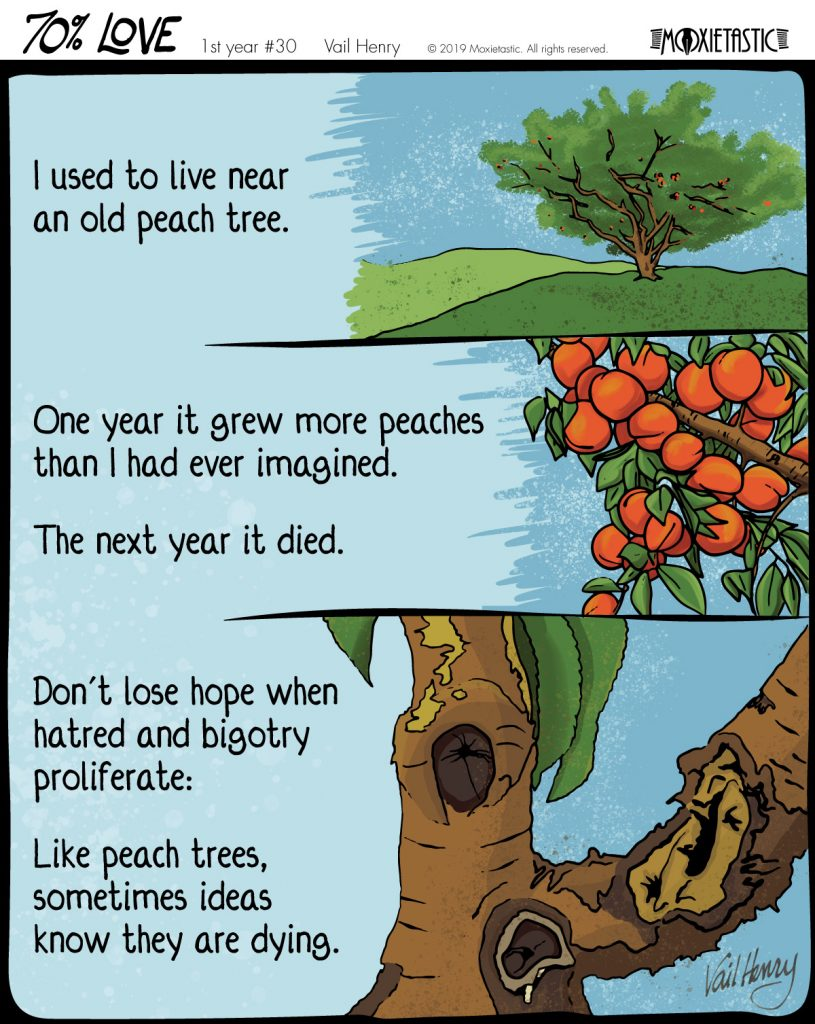 webcomic showing a peach tree, its fruit, and its rotting trunk