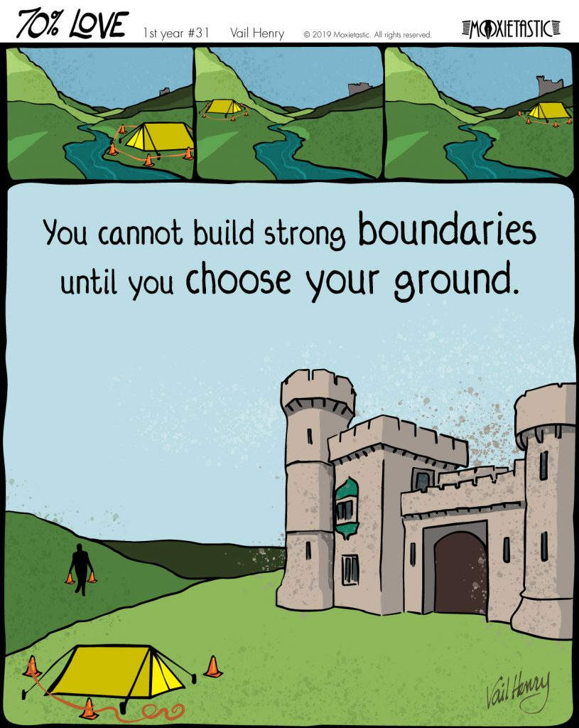 a tent with orange warning cones that keeps changing locations, and a castle slowly being built at one location