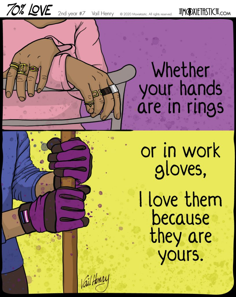 hands wearing rings; the same hands wearing work gloves