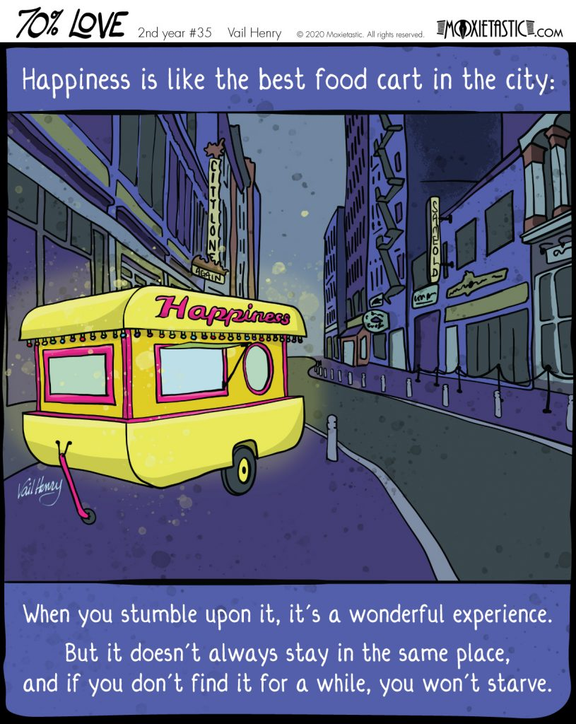 a bright yellow food card in a dreary blue-gray city