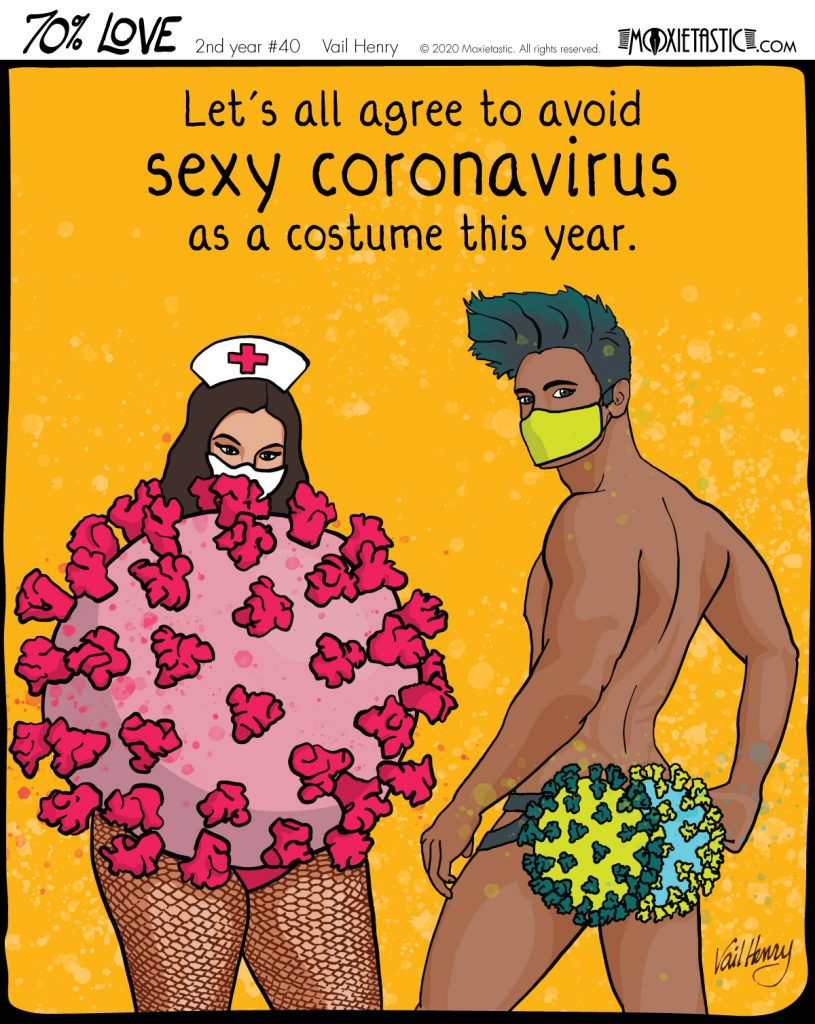 Two people wearing coronavirus themed sensuous costumes.
