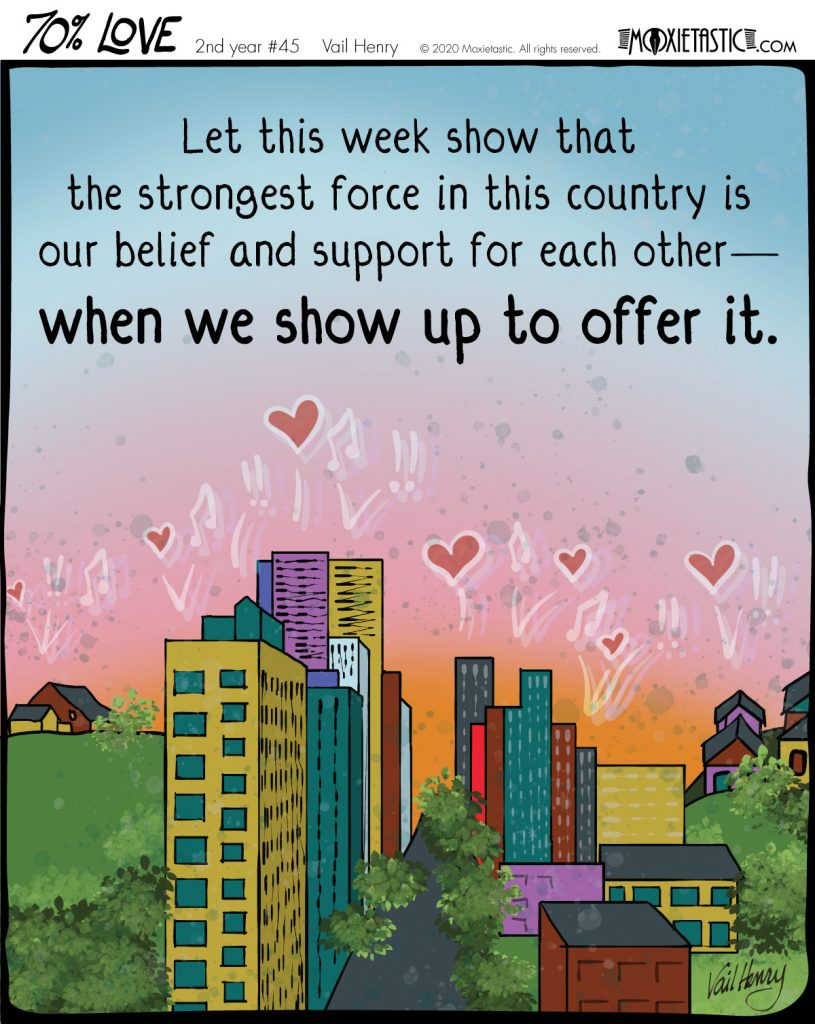 Illustration of a rural / urban / suburban area communicating hearts, music, and imperatives in celebration.