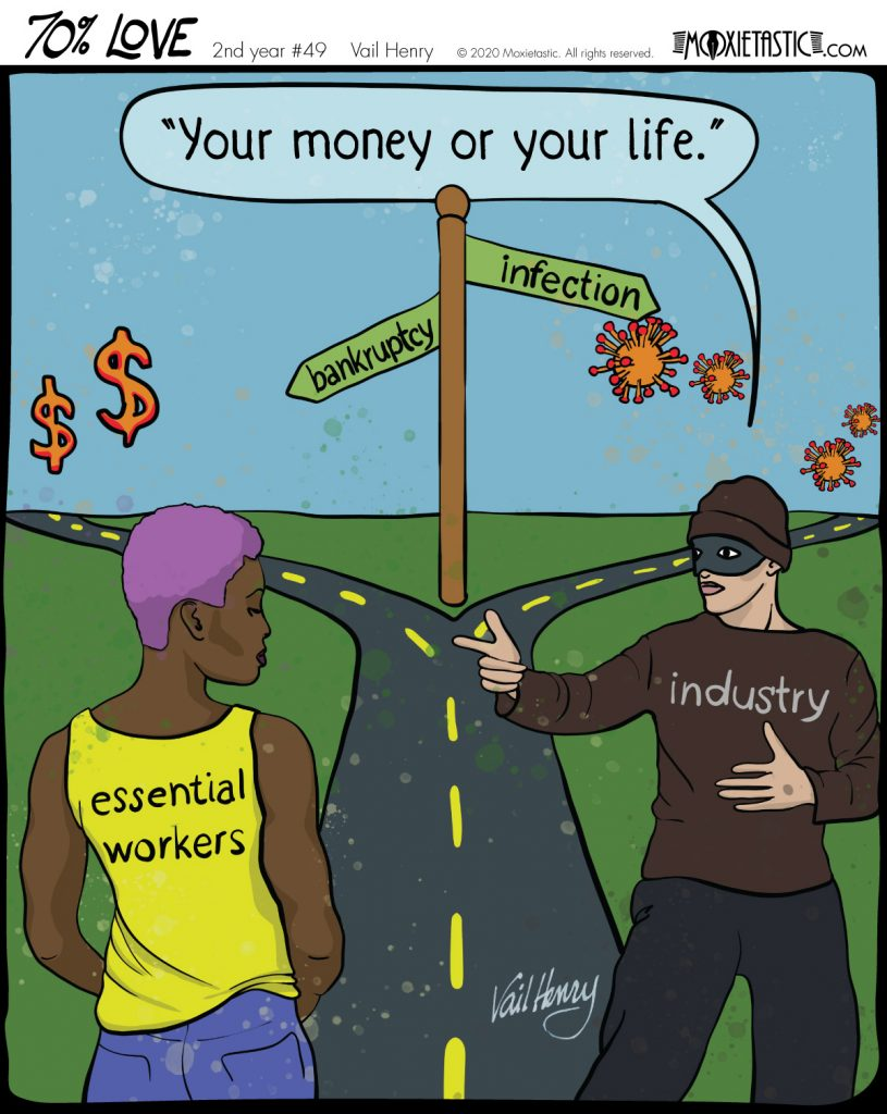 A person labeled Essential Worker and a robber labeled Industry standing at a crossroads. The robber is pointing finger guns at the person.