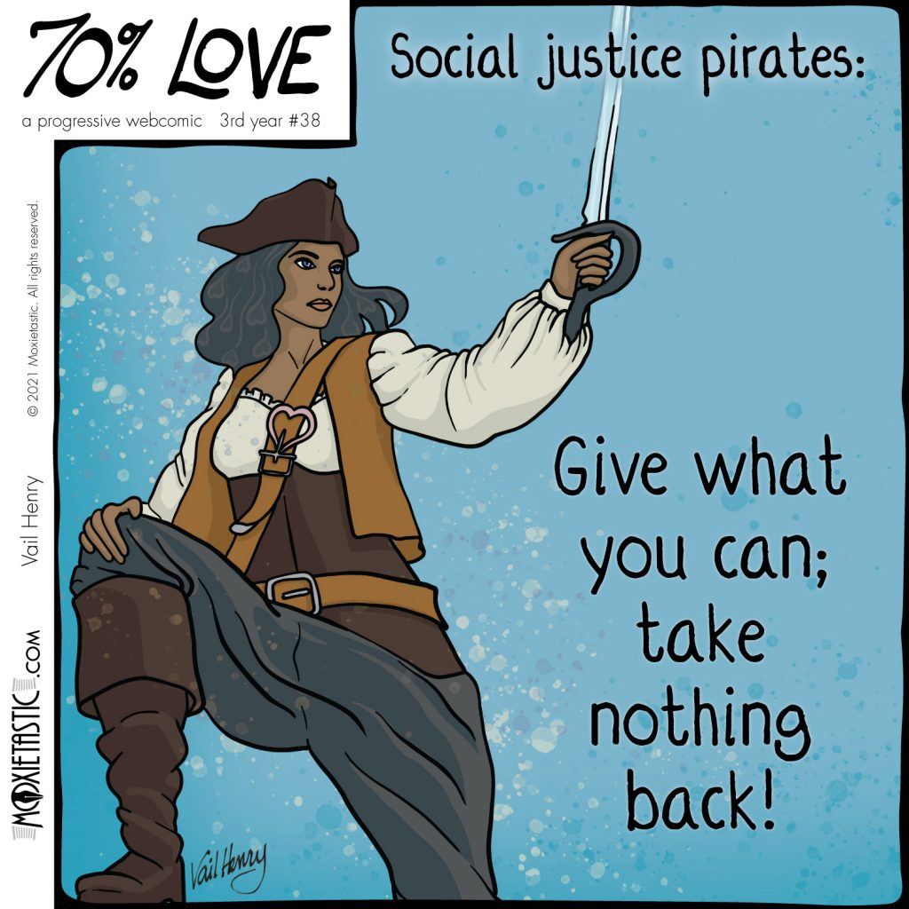 Pirate with a heart-shaped strap clasp.